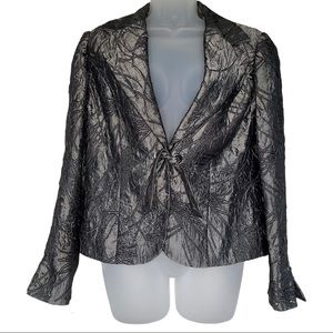 Insight Silver Metallic Tie Blazer Leaf Design